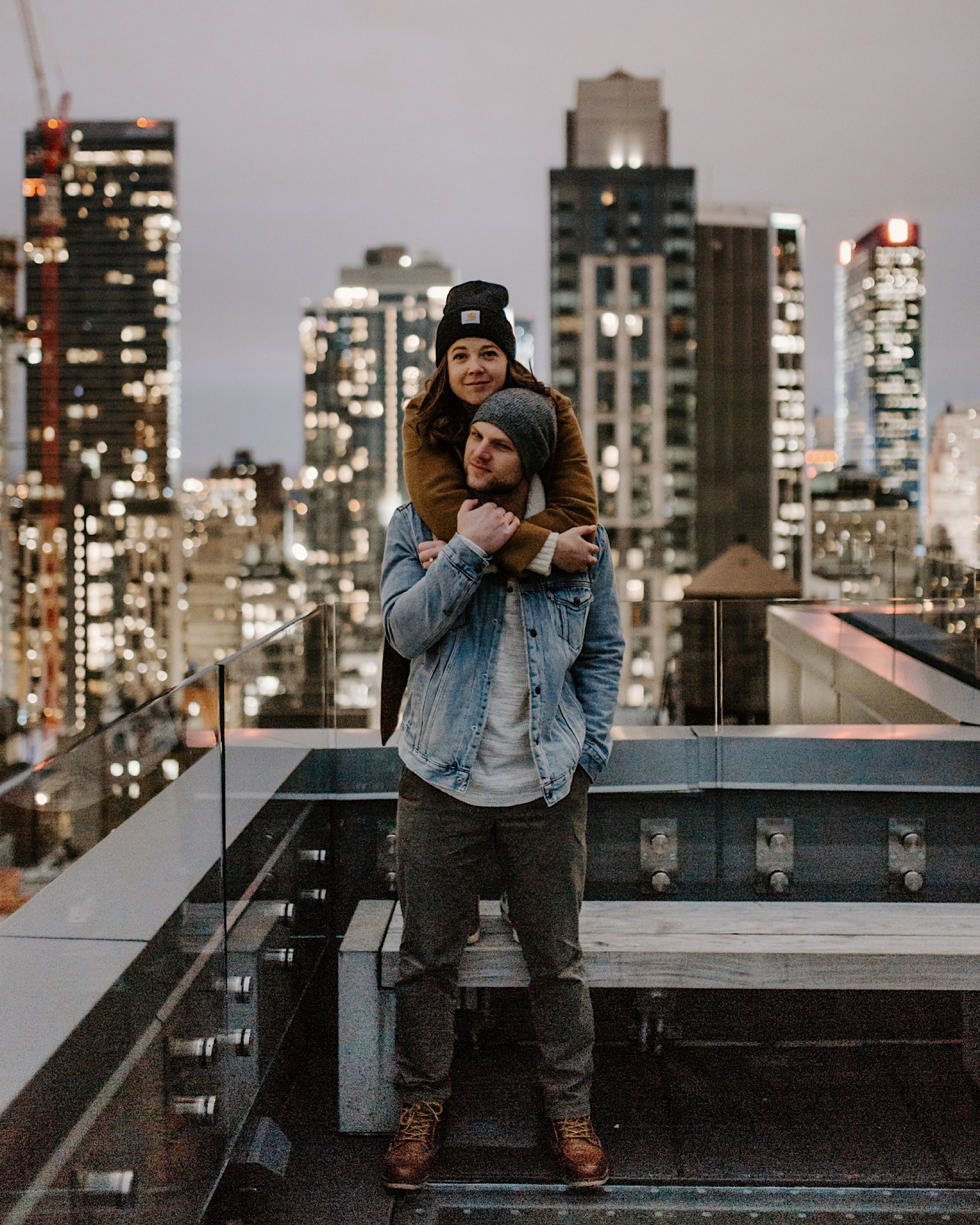new york city rooftop engagement session